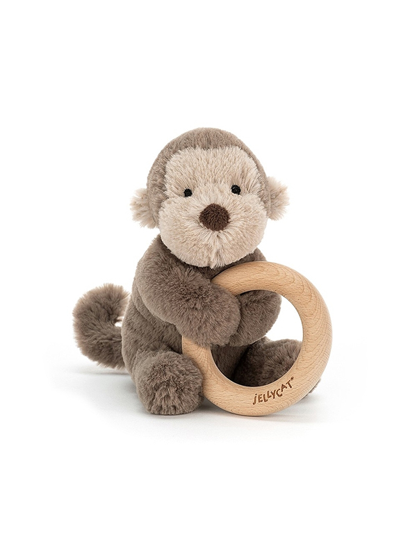 Jellycat Shooshu Monkey Wooden Ring Bitleksak